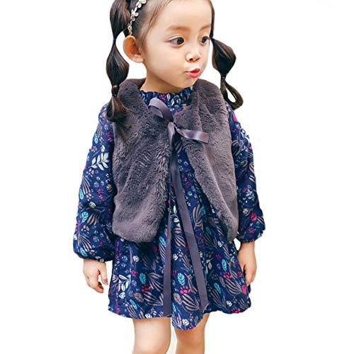 OverDose Damen 2018 Neugeborenen Baby Mädchen Cartoon Warme Prinzessin Liebhaber Print Kleid + Weste Outfits Kleidung Set(W1Marine,12M)