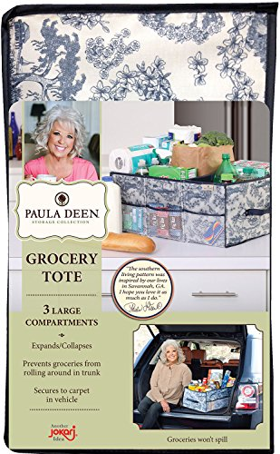 Paula Deen Cargo Tote, Reusable Grocery Bag, Best Car and Trunk Organize or use as a Utility Storage Container, This Multi Purpose Holder Nicely Fits In Vehicles or on Shelves