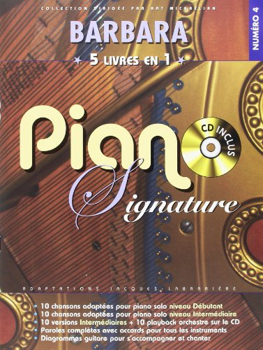 Barbara Piano Signature 5 Recueils En 1 + Cd