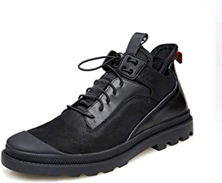 CHENDX Shoes, Upscale Ankle Boots for Men Hiking Sneakers Elastic Lock Shoelaces Genuine Leather Patchwork Collision Avoidance Toe (Fleece Inside Optional)
