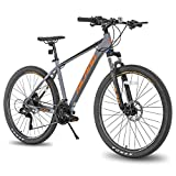 Hiland 27.5 Inch Mountain Bike 27-Speed MTB Bicycle for Man with 18 Inch Frame Suspension Fork Urban Commuter City Bicycle Grey