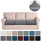 H.VERSAILTEX Super Stretch Stylish Cushions Covers/Furniture Cover Spandex Jacquard Small Checked Pattern Super Soft Slipcover Washable Individual (3-Piece Sofa Cushion, Gray)