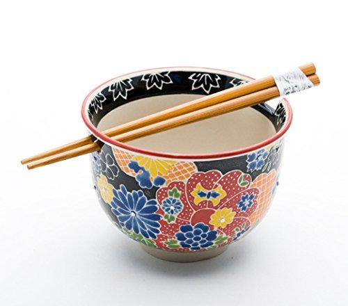 Quality Japanese Ramen Udon Noodle Bowl with Chopsticks Gift Set 5 Inch Diameter (Bloom)