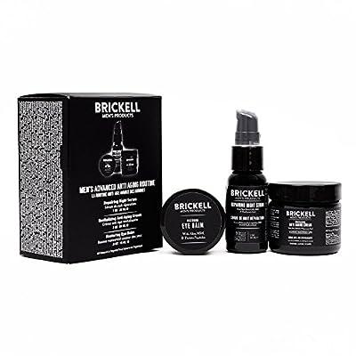 Brickell Men's Advanced Anti-Aging Routine, Night Face Cream, Vitamin C Facial Serum and Eye Cream, Natural and Organic, Scented