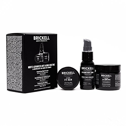 Brickell Mens Advanced Anti-Aging Routine, Night Face Cream, Vitamin C Facial Serum and Eye Cream, Natural and Organic, Scented