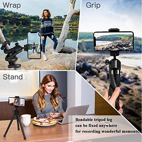 Phone Tripod Selfie Stick Kit,SmilePowo Flexible Tripod Stand with Bluetooth Remote/Universal Clip 360° Rotating for iPhone,Android Phones,GoPro Sports Camera,Digital Camera(Black Tripod)