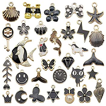 Juland 31 Pieces Mixed Alloy Enamel Charms Pendants Necklace Bracelet Charms Assorted Metal Floating Charms Wholesale Earrings Findings Oil Drip Charms for DIY Glass Living Memory Locket – Black
