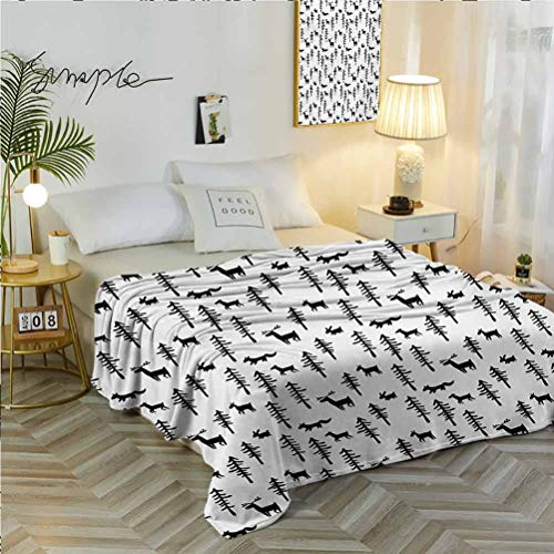 70' W x 94' L Forest Warm Sofa Thermal Blanket Cozy for All Seasons Christmas Spirit Inspired Sketchy Reindeer Figure Pine Trees Rabbits Animal Design Black White