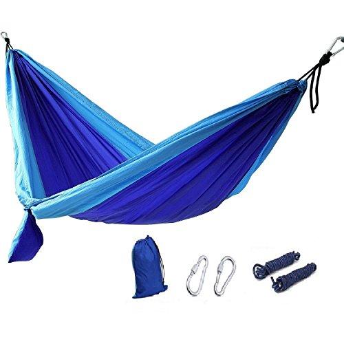 Hamac Portable,GYOYO Hamac Lit,lit camping Pour 1-2 Personnes en Toile De Parachute Tente Lit / Jardin Parachute, Nylon Tissu Voyage Camping, Bleu