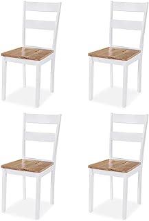 vidaXL 4X Sillas Comedor Madera Caucho Blanca Mueble Mobiliario Salón Cocina