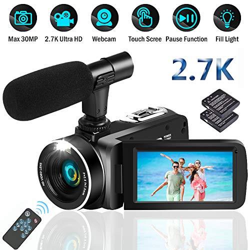 Camcorder Videokamera Camcorder Full HD 2.7K 30.0MP Digitale Videokamera für YouTube Camcorder Kamera mit Fernbedienung Vlogging Kamera mit Mikrofon
