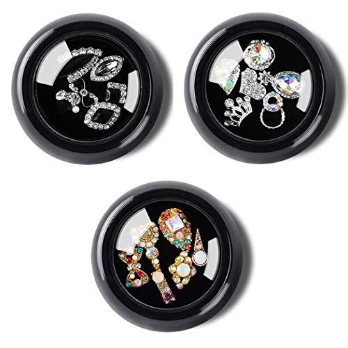 Sethexy 3 Cajas 3D Bling Cristal Diamante de imitación Accesorios para uñas Joyas Decoración Bricolaje Artesanía Gemas Aleación Arte Consejos de uñas Diseño(F)