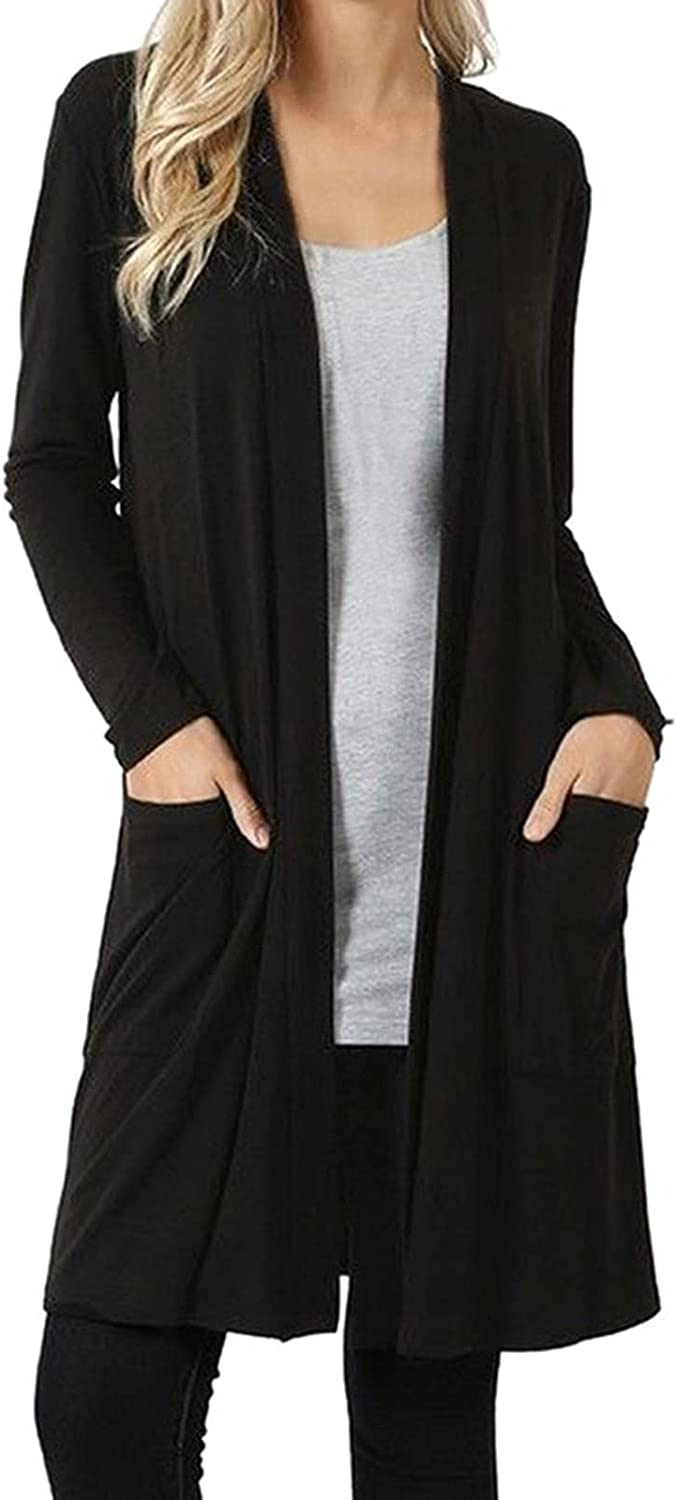 VonVonCo Fashion Womens Plus Size Tops Elegant Open Front Away Cardigan Sweater Long Sleeve Pockets Loose Drape