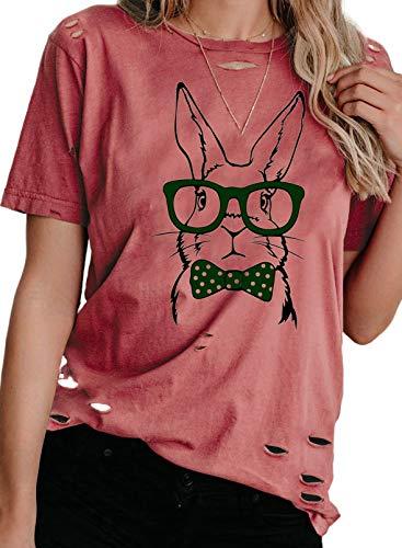 CORAFRITZ Blusa de manga corta para mujer, diseño de conejo