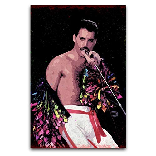 WPQL Pster de la Reina Lead Singer Freddie Mercury en un pavo real de la actuacin del disfraz, arte de pared, lienzo