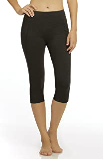 Marika Carrie Slimming Capri Leggings - with Power Mesh Lining and Coolmax Gusset - Stretchy Cotton Blend Fabric Black