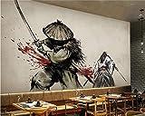 XQFZXQ Wandgemälde Samurai Serie Schwarz-Weiß Ukiyo-e Warrior Japanisches Restaurant Selbstklebend PVC 3D Wandgemälde Fernseher Hintergrund Wohnbereich Kinderzimmer Thema Hintergrund J(B)400x(H)280cm