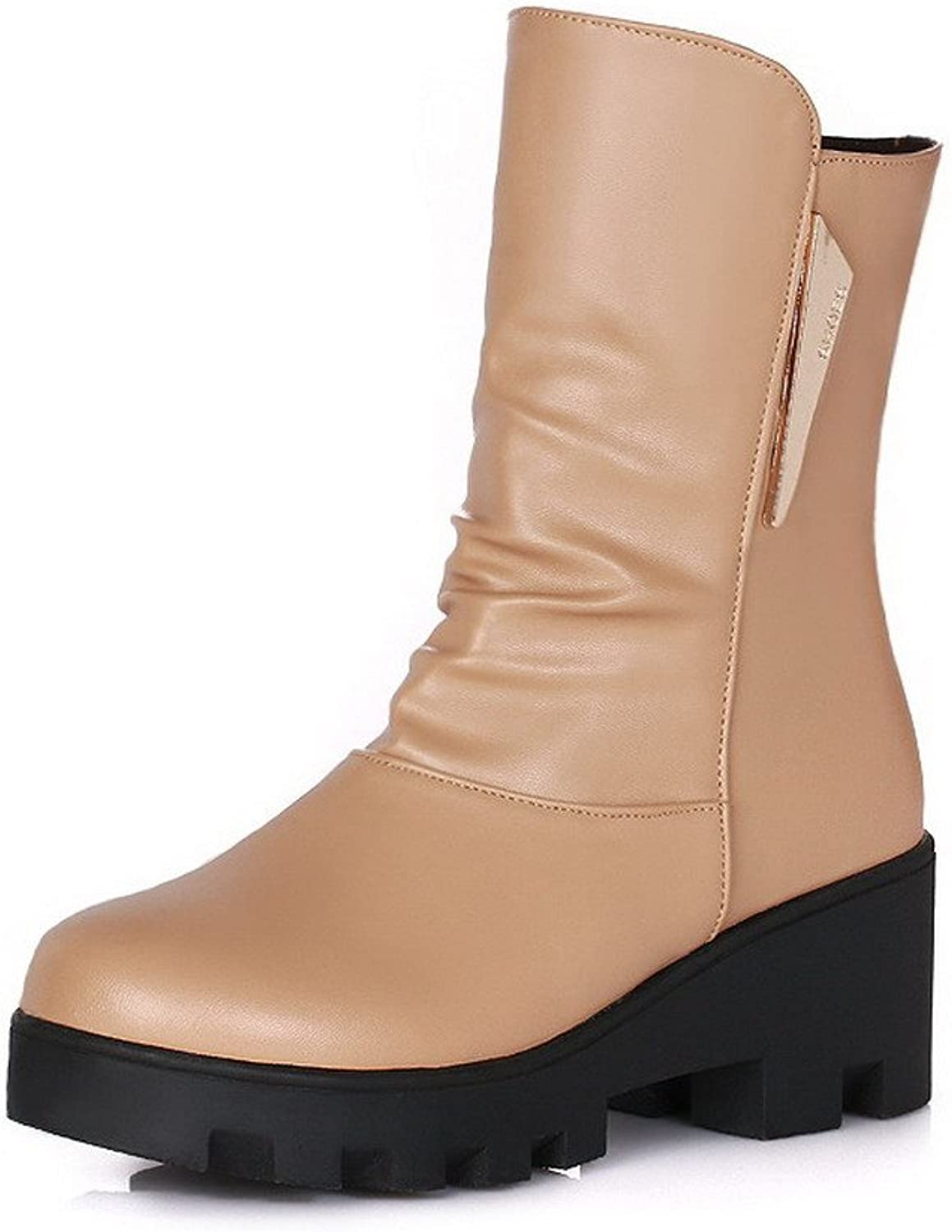 WeenFashion Women's Pull On Pu Round Closed Toe Kitten Heels Solid Boots