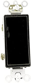 Leviton 5623-2E 20 Amp, 120/277 Volt, Decora Plus Rocker 3-Way AC Quiet Switch, Commercial Grade, Back and Side Wired, Self Grounding, Black