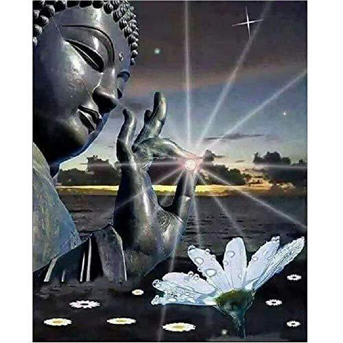 AZYVv Puzzle 1000 Teile 3D Erwachsene Puzzles Wassernixe, Weiße Blume Buddhas Art DIY Leisure Game Spielzeug Heimtextilien