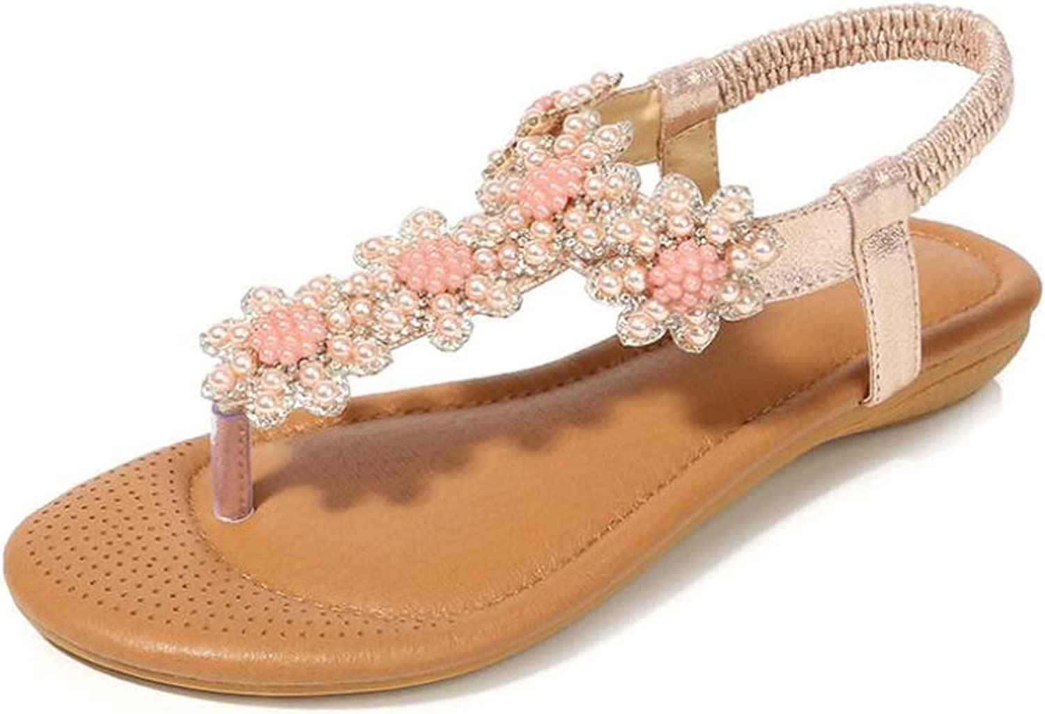 Sandals Summer Rhinestones Beaded Flat shoes Women's Casual Fashion shoes,A,36