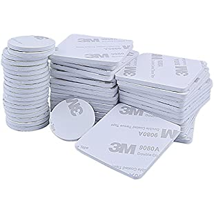 euhuton 50 Pieces Double Sided White Foam Pad Strong Adhesive Mounting Tape, Rectangle and Round