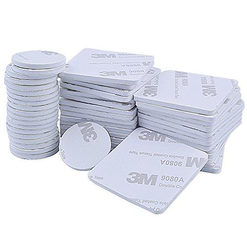 euhuton 50 Stücke Doppelseitig Schaumstoff-Pads Schaumband Doppelseitiges Rundes Klebeband Montage-Pad Selbstklebend 25 mm, 40 mm, Quadratisch und Rund, Weiß