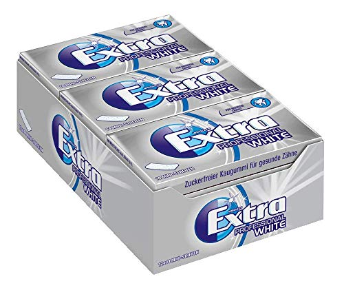Extra Kaugummi | Professional White | Zuckerfrei | 12 Packungen (12 x 14 Mini-Streifen)