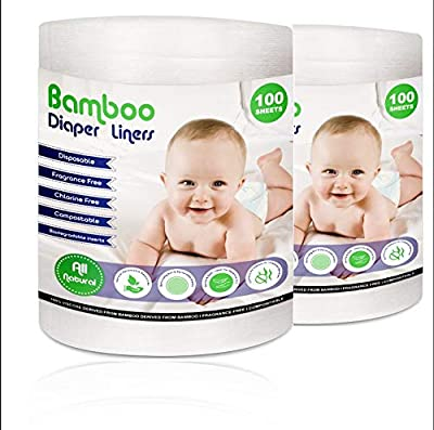Disposable Cloth Diaper Bamboo Liners – 2 Rolls,100 Sheets Each, Fragrance Free & Chlorine Free, Compostable, Dye Free Flushable Biodegradable Viscose Bamboo Liners for Cloth Diaper