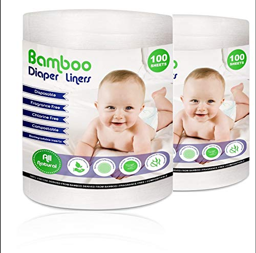 Disposable Cloth Diaper Bamboo Liners – 200 Sheets Total, 2 Rolls, Fragrance & Chlorine Free, Compostable, Dye Free Flushable Biodegradable Viscose Bamboo Liners