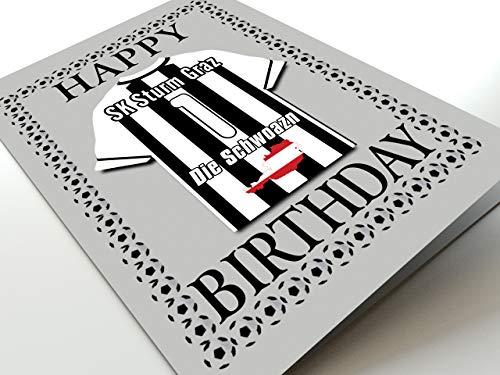 MyShirt123 UEFA Champions League & Euro League Fußball Themed Geburtstagskarten – jeder Name, Jede Nummer und jedes Team – kostenlose Personalisierung, Canvas, SK Sturm Graz Geburtstagskarte