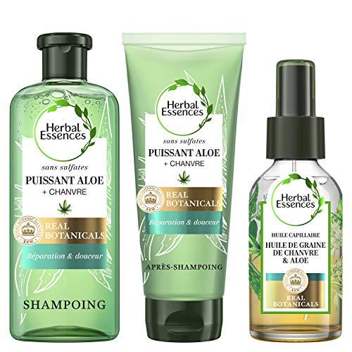 Herbal Essences, Routine Beauté pour les Cheveux Secs, Shampoing Pure 225ml, Après-Shampoing 180ml, Huile Capillaire à l'Aloe et au Chanvre 100ml