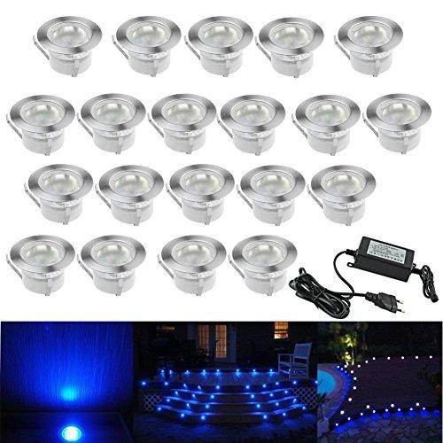 20 Kit Spot LED Eclairage Extérieur Encastrable Sol Terrasse Bois,45mm Spots Encastré Extérieur Fait en IP67 DC12V 1W Avec Alimentation EU Pour Jardin Escalier Patio Bleu