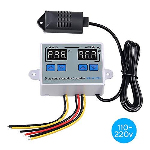 Doppio regolatore digitale di umidità della temperatura Termostato per frigorifero domestico Umidostato Termometro Igrometro XK-W1099 AC110-220V