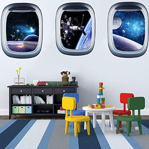 3D Planet Universum Galaxie Weltraum Raumschiff Astronaut Wandaufkleber, abziehen und aufkleben, abnehmbare Raumkapsel Fenster-Wandaufkleber Wandbild für Schlafzimmer Wohnzimmer Kinderzimmer
