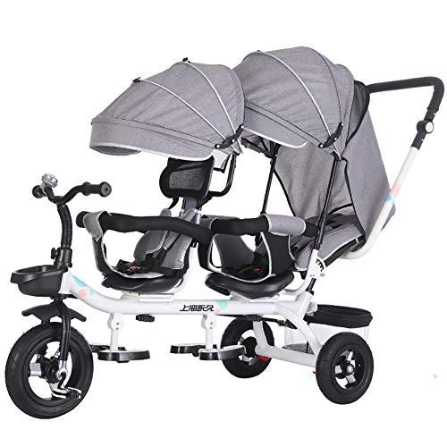 AI-QX Dreirad 2 Sitze, Kinderdreirad aus Eisen, Kinderfahrrad mit Schubstange, Tricycle 100KG belastbar, Kinder Dreirad Kinderwagen inkl. Sonnendach, Schiebewagen für Zwillinge Geschwister,E