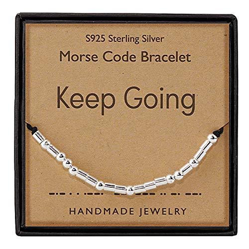 Gleamart Morse Code Bracelet 925 Sterling Silver Handmade Secret Message Beads Silk Cord Bangle Gift for Her Keep Going