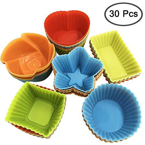 YuCool Lot de 30 moules à cupcakes en silicone réutilisables anti-adhésifs pour faire des gobelets à gâteau/gelée/œuf/chocolat/pudding et plus encore rond, étoile, cœur, rose, carré, rectangulaire