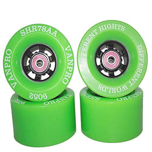 vanpro DIY Electric Skateboard Longboards Wheel 90MM 9052 pu for Cruising, Carving, Free-Style, Wheels Flywheels 608rs Precision Bearings Cored Classics Wheel (Snow Fluorescent Green, Pack of 4)
