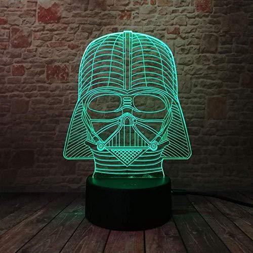 Luz de noche 3D Ilusión Luz Star Wars Modelo Figura Led Luminoso Luz de hada brillante en la noche oscura Brillo Darth Vader Casco Figura de juguete