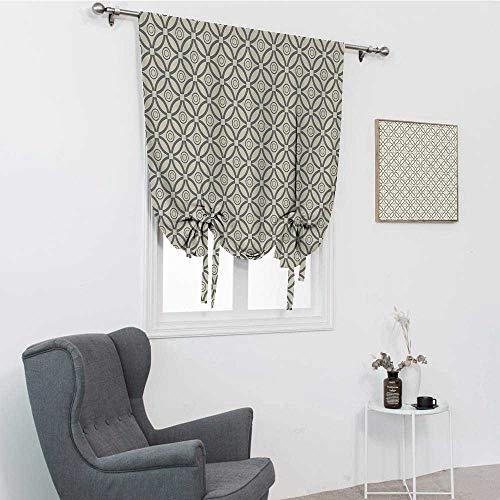 Cortinas geométricas para ventana, diseño retro redondo entrelazado con varias líneas circulares y anillos de imagen, cortinas de amarre de imagen, color gris crema, 88,9 x 162,6 cm