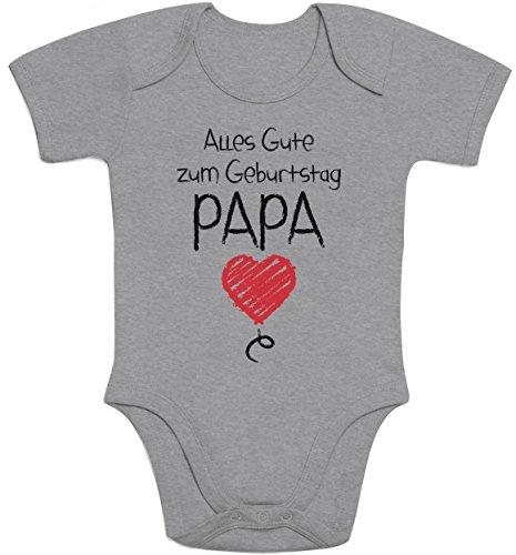 Shirtgeil Alles Gute Zum Geburtstag Papa - Vater Geschenk Baby Body Kurzarm-Body 3-6 Monate Grau