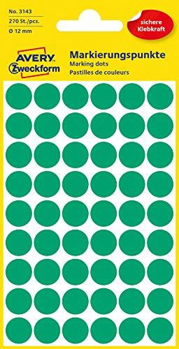 AVERY Zweckform 3143 selbstklebende Markierungspunkte 270 Stück (Ø12mm, Klebepunkte auf 5 Bogen, Punktaufkleber zur Farbcodierung, runde Aufkleber für Kalender, Planer und zum Basteln, Papier) grün