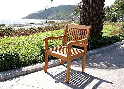 SAM Akazien-Gartenstuhl France, Massiv mit Armlehnen, gemütlicher Sessel ideal für Garten, Terrasse, Balkon
