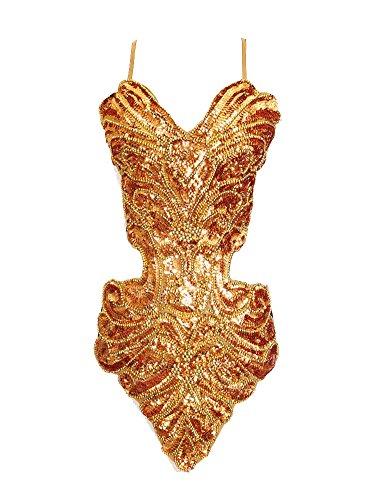 Gladiolus Damen Latein Tänze Tanzkostüme Kleidung Tanzkleid Partykleid Darbietungen Gold Einheitsgröße