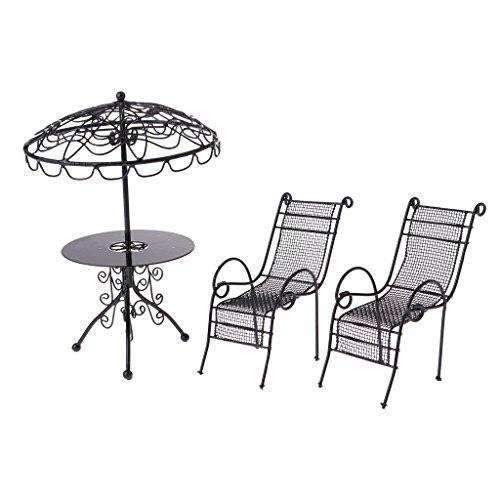 T TOOYFUL 1:12 Puppenhaus Gartenmöbel Miniaturen Möbel Betttisch & Stühle aus Metall Puppenstubenmöbel - Schwarz