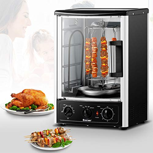 COSTWAY Vertical Rotisserie Oven Countertop Rotating Grill with Bake, Turkey Thanksgiving, Broil Roasting Kebab Rack Shawarma Machine with Adjustable Settings, 2 Shelves, 1500 W