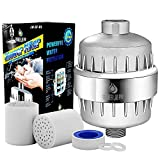 Shower Lab Pro 10-Stage Universal Shower Head Water Filter for Hard Water w/2 Cartridges- Removes Chlorine, Heavy Metals, Impurities & Sulfur Odor -Softens Hard Water - Improves Skin and Hair Health