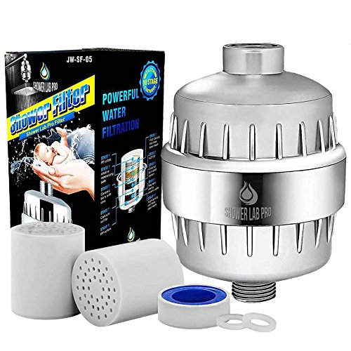 Shower Lab Pro 10-Stage Universal Shower Head Water Filter for Hard Water w/ 2 Cartridges- Removes Chlorine, Heavy Metals, Impurities & Sulfur Odor -Softens Hard Water - Improves Skin and Hair Health