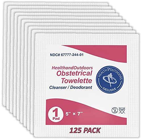 Obstetrical Hand & Body Cleansing Individually Wrapped Towelettes (125 Count) 5' x 7' Wet Napkin Wipes Benzalkonium First-Aid Wound Care